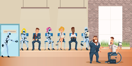 People and Robot Queue for Job Interview at Office. Human Resource and Modern Technology Hire. Artificial Intelligence Recruitment. Businessman Shake Hand. Flat Cartoon Vector Illustration