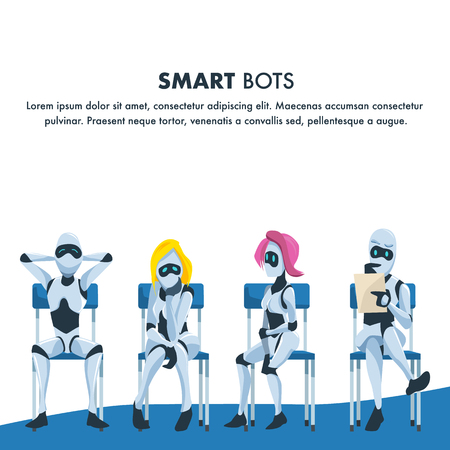 Queue of Smart Robot Sit Wait for Job Interview. Pensive Nervous and Relaxed Artificial Intelligence on Chair Hold Resume. Male and Female Office Bot. Cartoon Flat Vector Illustration  イラスト・ベクター素材