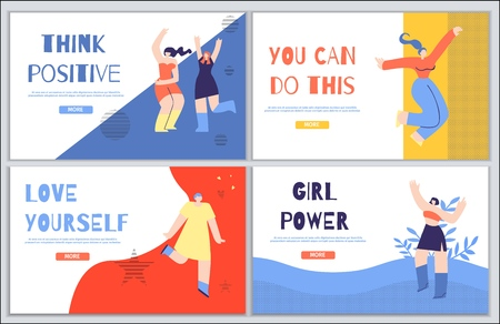 Woman Inspirational Landing Page Flash Design Set. Banner with Motivate Text Think Positive You Can Do This Love Yourself Girl Power. Cartoon Happy Admired Girl Characters Vector Illustration Style