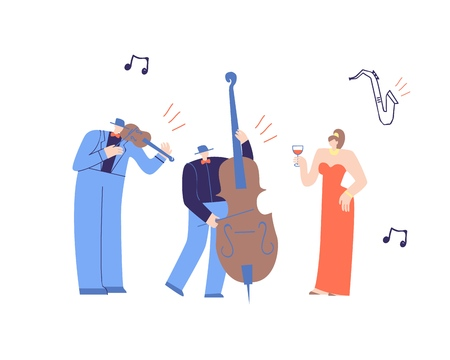 Music Band Playing Classic Music. Flat Cartoon with Performing Man Violinist, Contrabass Player and Beautiful Drinking Woman in Luxury Dress. Live Concert Music Festival Vector Illustration Ilustrace