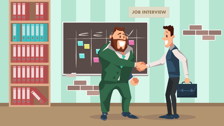 Successful Job Interview. Office Worker Handshake. Two Smiling Business Man Character Shake Hand. Employee Wear Suit with Breifcase make Agreement. Recruitment. Cartoon Flat Vector Illustration