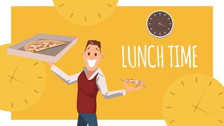 Fröhlicher Büroangestellter stehen, Karton-Pizza-Box halten. Glücklicher männlicher Charakter, junger Geschäftsmann des Freiberuflers Plan, Italianfood für die Mittagspause bei der Arbeit zu essen. Flache Vektorillustration der Karikatur Vektorgrafik