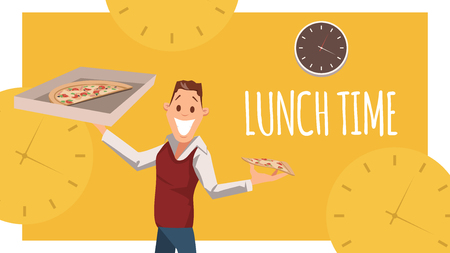 Joyful Office Worker Stand, Hold Carton Pizza Box. Happy Male Character, Young Businessman of Freelancer Plan to Have Italianfood for Lunch Break at Work. Cartoon Flat Vector Illustration