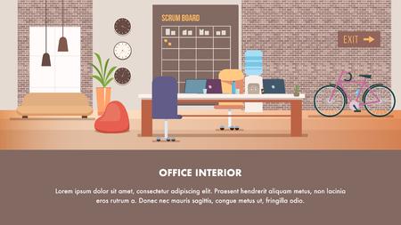 Coworking Modern Creative Office Interior Design. Open Space Studio Shared Workplace Loft Style. Furniture Beanbag Chair, Scrum Board, Laptop on Working Desk. Cartoon Flat Vector Illustration