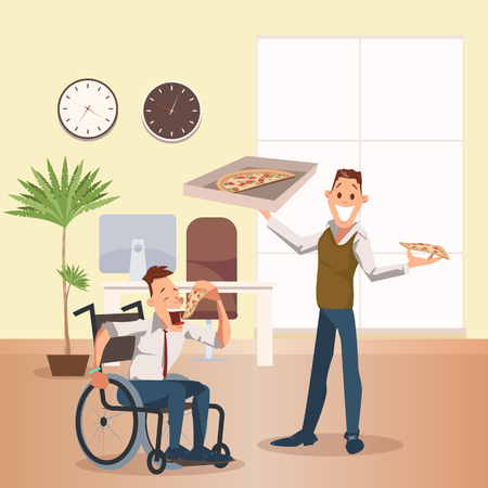 Man Eat Pizza at Office. Happy Disabled Coworker. Wheelchair Freelancer at Lunch. Happy Businessman Stand, Hold Box, Plan to Have Slice of Italian Food. Cartoon Flat Vector Illustration