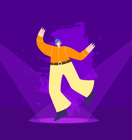 Cartoon Happy Dancing Country Cowboy Man Performing Showing Talent on Illuminated Nightclub Stage Disco Party Marathon Festival Vector Flat Style Illustration Night Competition Discotheque Concept Illustration