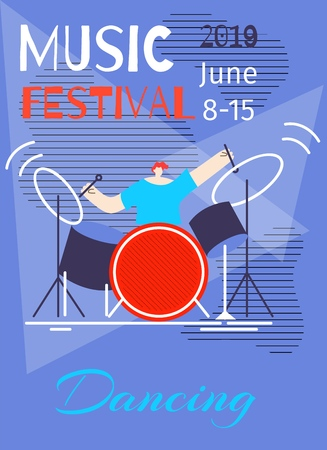 Music Dancing Festival Poster Flat Template Vector Illustration Cartoon Man Drummer Playing Instrument Blue Copy Space Party Time Concept Disco Marathon Dance Fest Advertising Promotion Brochure