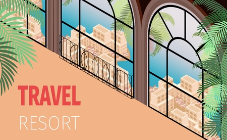 Hotel Building Window with Beautiful View - Sea Ocean Palm Trees Town Vector Isometric Illustration. Travel Resort Banner Concept. Honeymoon Vacation Romantic Weekend Trip Tropical Tourism Vecteurs