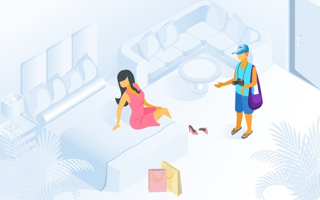 Woman on Bed Man Waiting at Modern Room Vector Isometric Illustration. Female Resting after Shopping in Bedroom. Family Vacation Holiday Trip Comfortable Cozy Apartment Resort Hotel Ilustração