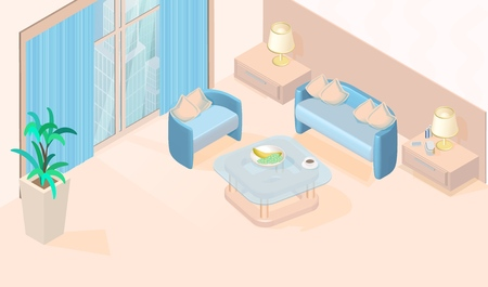 Cozy Modern Minimal Living Room with large Window, Table, Sofa with Cushions, Armchairs, Lamp, Plant Vector Isometric Illustration. Inside Hotel Room Apartment Furniture Simple Interior