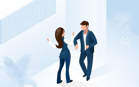 Woman Receptionist Assistant Manager Help Man Tourist at Modern Hotel Lobby Vector Isometric Illustration. Administrator Staff Welcome Guest. Vacation Travel Room Reservation Service Ilustração