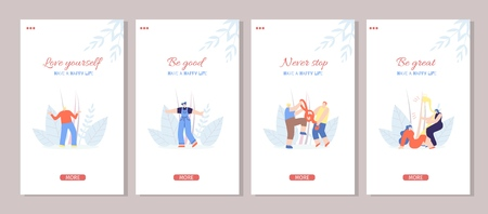Motivation Stories Social Media Set Template with Cartoon Music People. Love Yourself Be Good Great Never Stop Inspiration Phrases Have Happy Life Concept. Flat Vector Illustration Floral Music Style