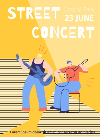 Advert Poster Template with Two Guys Playing Guitar Cartoon Characters Vector Design Illustration for Advertising Street Concert Musical Festival Concept Event Flat Banner Summer Party Flyer Style