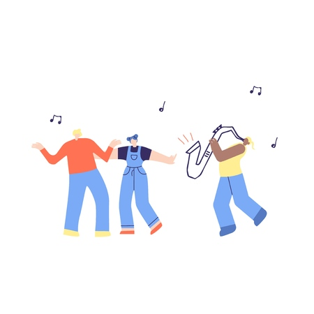 Dancing Music People, African American Saxophone Player. Man Woman Admire Moving Jazz Music Fans Crowd, Musician Performing on Stage. Cartoon Jazz Party Music Festival Flat Vector Illustration