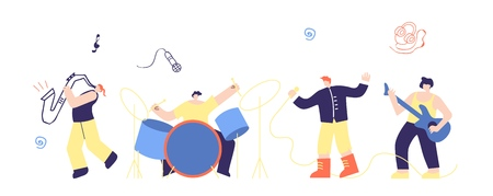 Musician People Rock Pop Boys Band Flat Vector Illustration. Group Man Play Music Instruments Bass Guitar Drum Sing Saxophone on Concert Stage Cartoon. Festival Talent Show Live Sound Party Holiday Vektorové ilustrace