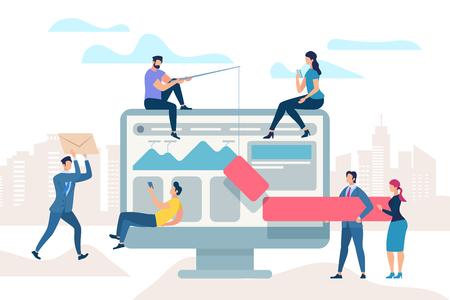 Piccole persone si muovono su un enorme monitor. La riunione di lavoro migliora il processo aziendale. Il manager analizza le informazioni, l'uomo disegna il grafico a barre sul monitor. Il team fa il brainstorming di ottimizzazione. Cartoon piatto illustrazione vettoriale