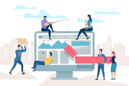 Little People Move at Huge Monitor. Work Meeting Improve Business Process. Manager Analyze Information, Man Draw Bar Graph on Monitor. Team do Optimisation Brainstorm. Cartoon Flat Vector Illustration