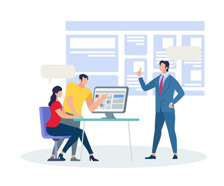 Étudiants homme et femme assis au bureau et discutant à l'écran d'ordinateur. Formateur d'affaires expliquant l'information en classe à l'arrière-plan d'un énorme moniteur interactif. Illustration vectorielle plane de dessin animé