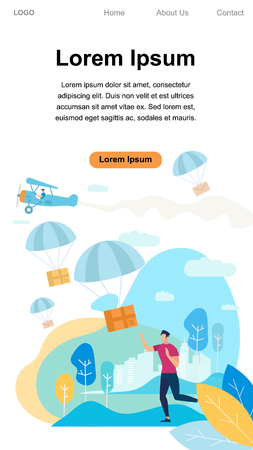 Vertical Banner with Copy Space. Young Man Character Run and Catch Parcel Box Falling Down with Parachute from Sky. Transportation Shipping Package, Air Mail Delivery. Cartoon Flat Vector Illustration