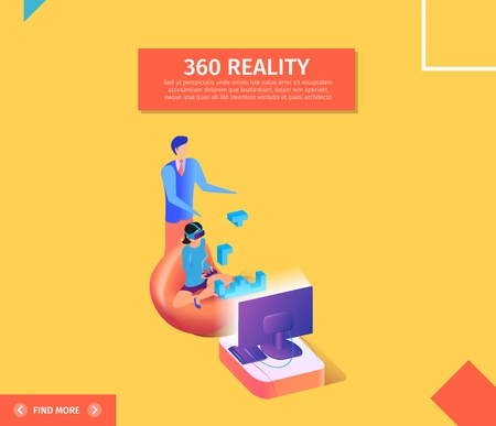 360 Reality Square Banner. Young Woman in Virtual Reality Glasses Sitting in Chair in Front of Television Monitor Playing Computer Game. Man in Elegant Cloth Stand Behind 3D Flat Vector Illustration