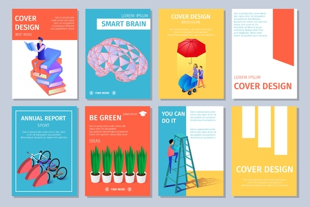 Colorful Vertical Banners Set with Copy Space. Cover Design. Guy Climbing on Ladder, Man Sitting on Books Heap, Potted Plants, Walking Family, Brain, Bicycles 3D Flat Vector Isometric Illustration Ilustrace