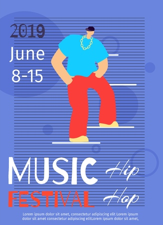 Music Dance Festival Poster Template Hip Hop Party Invitation Flat Banner Vector Illustration Color Cartoon Guy Trendy Outfit Dancing Standing on Stages Flyer Promotional Battle Event Brochure
