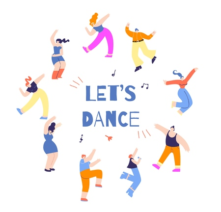 Dancing Round People Inspirational Font Text Lets Dance Colorful Circle Cartoon Figure Man Woman Flat Vector Style Illustration Motivate Promotion Advertising Festival Banner Dance Party Invitation 矢量图像