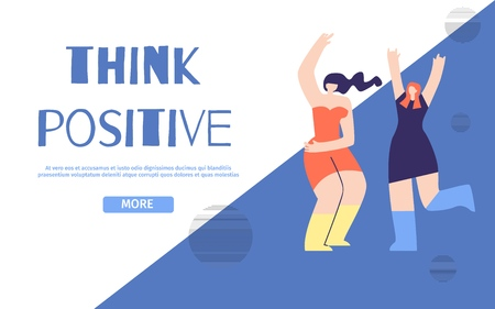 Think Positive Landing Page. Flat Banner with Dancing Having Fun Girls. Vector Geometric Design Illustration. Optimistic Thoughts Keeping Emotional Balance Psychological Work on Yourself Concept
