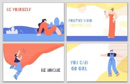 Stellen Sie Frauenmotivationsposter mit täglichem Reiz ein. Bunte Banner mit inspirierenden Phrasen Zitate Seien Sie einzigartig Ändern Sie das Leben Seien Sie selbst positive Gedanken haben. Schriftzug trendige flache Vektor-Illustration Vektorgrafik