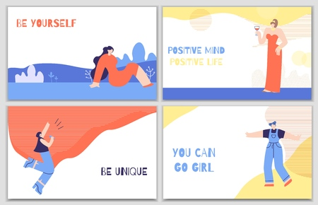 Set Woman Motivation Posters with Daily Stimulus. Colorful Banners with Inspirational Phrases Quotes Be Unique Change Life Be Yourself Have Positive Thoughts. Lettering Trendy Flat Vector Illustration
