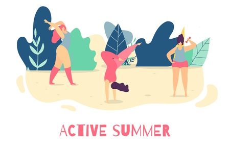 Be Active in Summer Motivational Woman Flat Text Banner Good Positive Lettering Keep Fit Improve Health Become Stronger Concept Sporty Girls Vector Doing Yoga Fitness Stretching Illustration Çizim