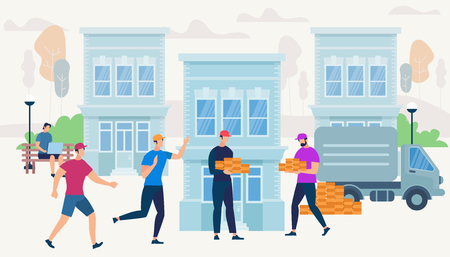 Workers Bring Bricks by Van Car Truck to Build New House. Men Characters, Builders Making Engineering Job on City Buildings Background. Guy with Laptop Sitting in Park Cartoon Flat Vector Illustration