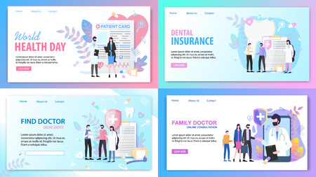 Online Consultation Family Find Doctor Service World Health Day Dental Insurance Vector Illustration. Internet Search Medical Specialist Mobile Application Tooth Treatment Patient Support Çizim