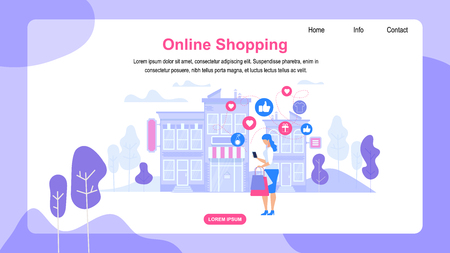 Horizontal Banner with Copy Space. Online Shopping. Young Woman Consumer with Bags Making Shopping Purchases in Web Application Stand in Front of Store Building with Awning. Flat Vector Illustration. Illustration