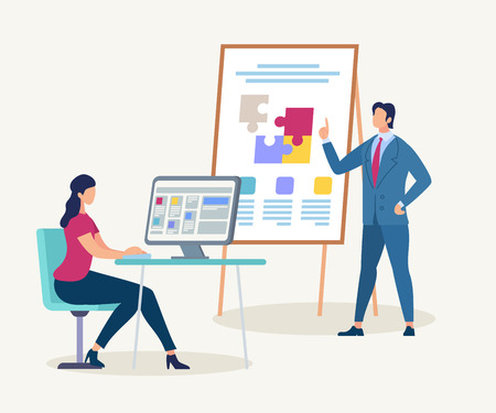 Young Woman Sitting on Chair at Desk with Computer Watching Presentation of Confident Male Business Trainer Character in Suit Pointing on Flip Board with Puzzle Pieces Cartoon Flat Vector Illustration