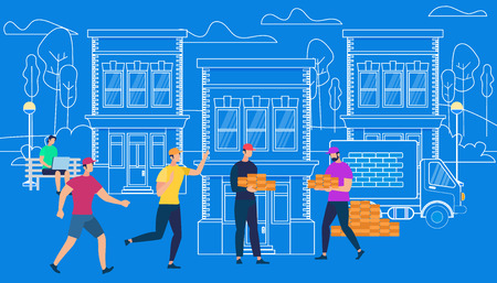 Male Characters Working Hard in Construction. Process of House Building. Builders Make House Project on Blue Background with Outline City Buildins, Cars and Elements. Cartoon Flat Vector Illustration  イラスト・ベクター素材