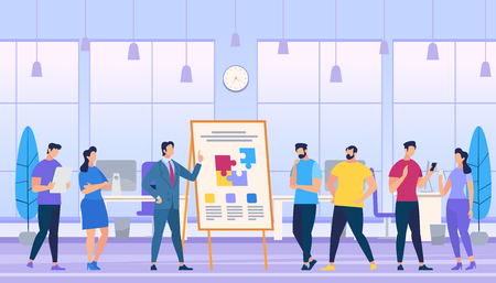Man Teach how to Create Strong Team Composing Puzzle Pieces on Flip Board in Office. Employees Watching. Learning Process. Creation Successful Project. Team Working. Cartoon Flat Vector Illustration