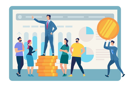 Speaking Business Coach Stand on Top of Golden Coin Pile Surrounded with Listening People on Huge Monitor Background with Graphs and Charts Isolated on White Backdrop. Cartoon Flat Vector Illustration Vectores