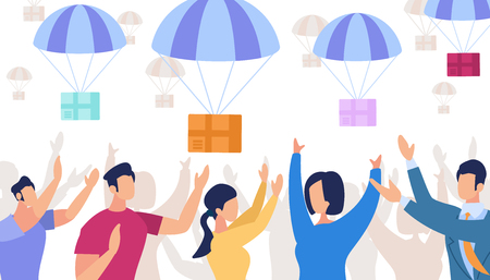 Paracaídas con cajas cayendo del cielo. Hombres y mujeres cogiendo paquetes sobre fondo blanco. Servicio de transporte de carga de paquetes de envío. Entrega urgente de correo aéreo. Ilustración de Vector plano de dibujos animados