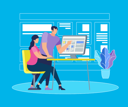 Handsome Young Man Stand at Desk with Computer Explaining Information to Sitting Girl on Blue Background with Outline Monitor. Young People Work or Study Together. Cartoon Flat Vector Illustration.