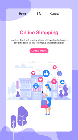 Vertical Banner with Copy Space. Online Shopping. Young Lady Consumer with Paper Bags in Hands Make Shopping Purchases in Website App Stand Out of Store Building Background. Flat Vector Illustration.