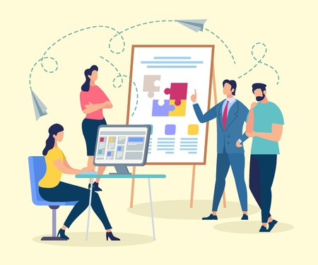 Coach Character Making Presentation of Coworking. Man Standing near Flip Board with Puzzle Pieces. Shared Workspace Service. Freelancer Talking and Working at Computer Cartoon Flat Vector Illustration