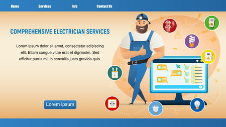 Electrician Service. Thumb Up Workman Character. Happy Handyman Wearing Overall Uniform and Cap. Repairman Male Character Standing, Leaning on Screen. Flat Cartoon Vector Illustration Standard-Bild - 123089035