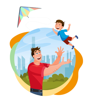 Father Playing with Happy Little Son at City Park. Male Character Throwing Little Boy Up to Kite. Loving Dad and Kid Spending Time Together. Happy Fathers Day. Flat Cartoon Vector Illustration