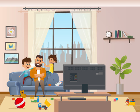 Children Messing Around Tired Annoyed Angry Father. Stress Man Character with Clenched Teeth Sitting on Sofa infront of TV. Naughty Kids Playing and Making Mess at Home. Cartoon Vector Illustration Standard-Bild - 121391524