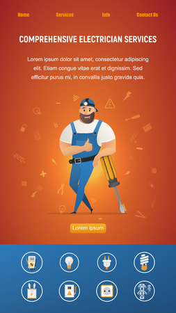Electrical Service Workman Leaning on Screwdriver. Thumbs Up Smiling Strong Male Character in Overall Working Uniform and Cap. Electrician Equipment Item. Flat Cartoon Vector Illustration