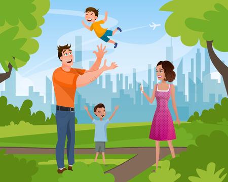 Heureuse famille marchant en jouant dans le parc de la ville d'été. Personnage de père jetant son petit fils, frère aîné debout avec la main levée, mère prenant une photo. Illustration vectorielle de dessin animé plat