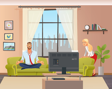 Peaceful Calm Man Doing Home Yoga in Living Room. Father Sitting on Couch in Lotus Position. Shocked Woman Character Staring. Husband and Wife at Home. Flat Cartoon Vector Illustration