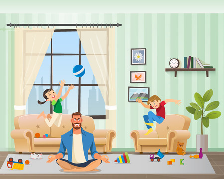 Anfry Father Meditating, Children Playing Around. Man Character with Clenched Teeth Calming Down in Yoga Position. Naughty Kid Jumping with Ball and Making Mess at Home. Cartoon Vector Illustration