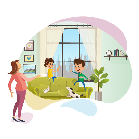 Annoyed Mother Yell at Naughty Children Banner. Angry Women Character Staying next to Spoiled Children. Boy and Girl Playing on Couch, Making Mess at Home. Flat Cartoon Vector Illustration Ilustração